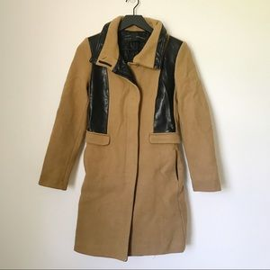 Zara trench style coat with leather accents size M